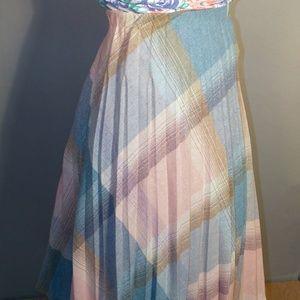 VTG 70s Pastel Plaid Pleated Tea Length Skirt